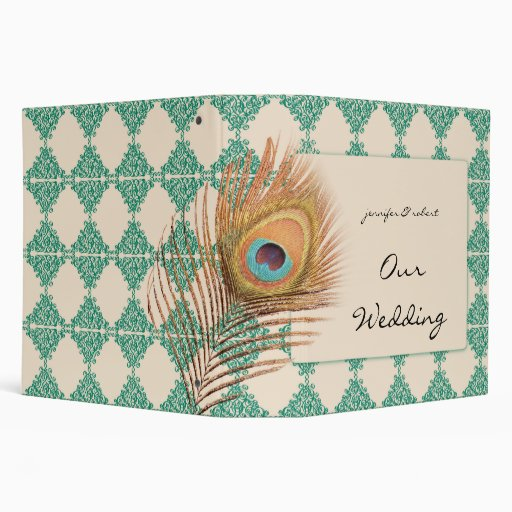 Peacock Feather on Teal Moroccan Tile Binder