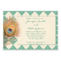 Peacock Feather on Teal Moroccan Tile Invitation (<em>$2.11</em>)