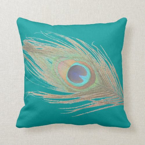 Peacock Feather on Teal Throw Pillow