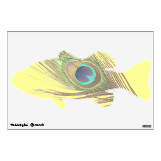 Peacock Feather on Yellow Bass Wall Decal