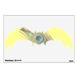 Peacock Feather on Yellow Bat Wall Decal