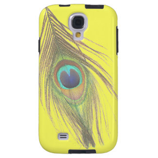 Peacock Feather on Yellow Galaxy S4 Case