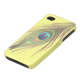 Peacock Feather on Yellow iPhone 4 Case