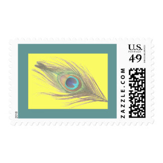 Peacock Feather on Yellow with Blue Border Postage