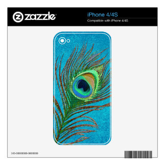 Peacock feather ornate elegant iPhone skins Decals For iPhone 4