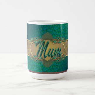 Peacock feather ornate text design mugs for mum