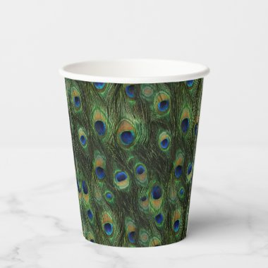 Peacock Feather Paper Cups