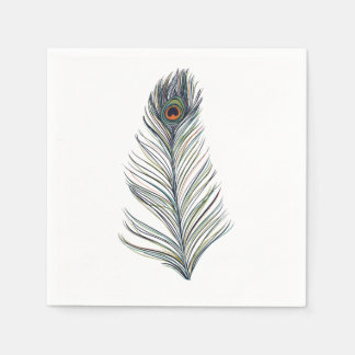 Peacock Feather Disposable Napkin