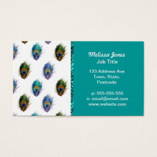 Peacock feather pattern business card
