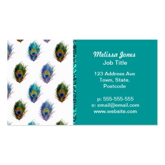 Peacock feather pattern business card templates