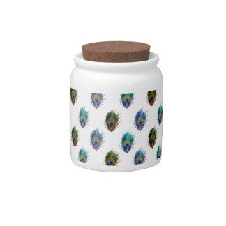 Peacock feather pattern candy jar