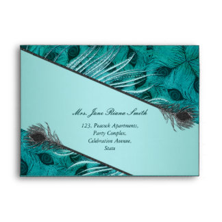 Peacock feather pattern envelopes