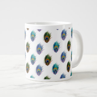 Peacock feather pattern giant coffee mug