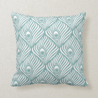 Peacock Feather Pattern in Sea Glass and White Throw Pillow