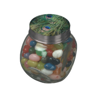 Peacock Feather Pattern Jelly Belly Candy Jar