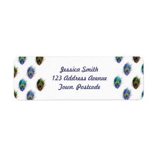 Peacock feather pattern custom return address label