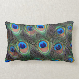 Peacock Feather Pattern Lumbar Pillow