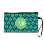 Peacock Feather Pattern Monogram Personalized Wristlet Clutch