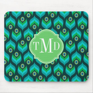 Peacock Feather Pattern Monogram Personalized Mouse Pad