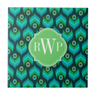 Peacock Feather Pattern Monogram Personalized Tile