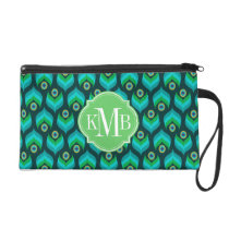Peacock Feather Pattern Monogram Personalized Wristlet Purse