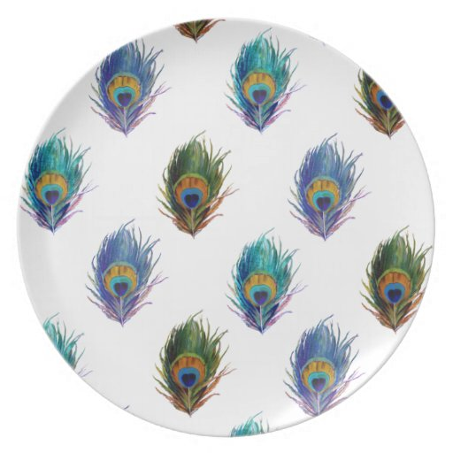 Peacock feather pattern party plates