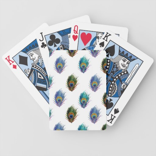 Peacock feather pattern poker deck