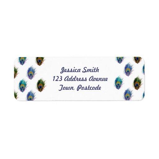 Peacock feather pattern return address label