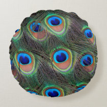 Peacock Feather Pattern Round Pillow