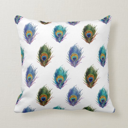 Peacock feather pattern throw pillow