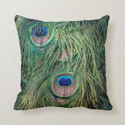 Peacock Feather Pattern Throw Pillows