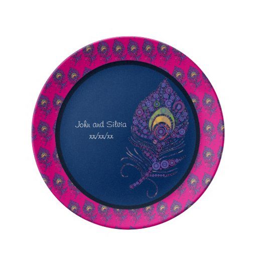 Peacock Feather Personalized Dinner Plate Zazzle