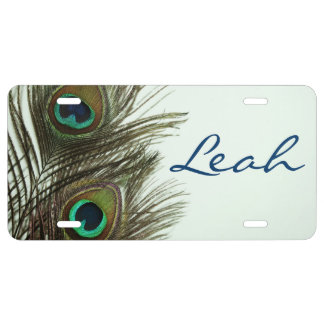 Peacock Feather Personalized License Plate Cover