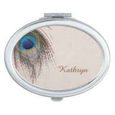 Peacock Feather Personalized Vanity Mirror at Zazzle