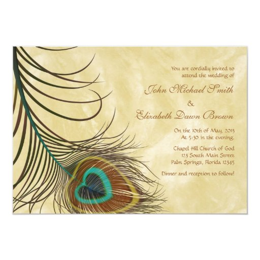 "Peacock Feather Personalized Wedding Invitation 5"" X 7"" Invitation Card"