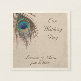 Peacock Feather Personalized Wedding Napkin