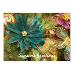 Peacock Feather Poinsettia Flat Christmas Card