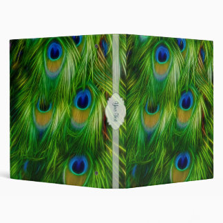 Peacock Feather Print 3 Ring Binders
