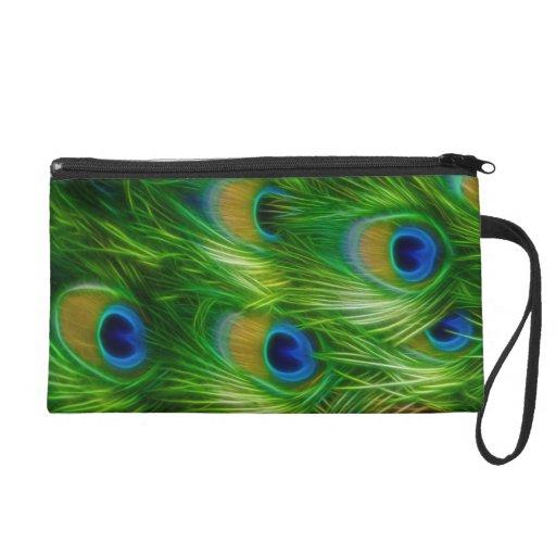 Peacock Feather Print Wristlet Purses