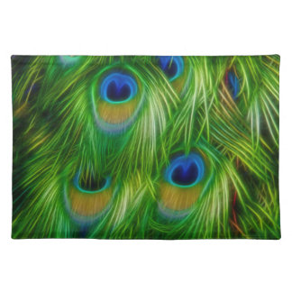Peacock Feather Print Cloth Placemat