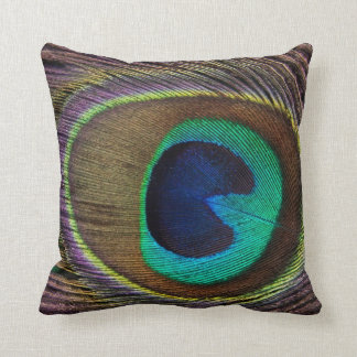 Peacock Feather Print Decorative Pillow