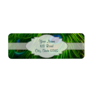 Peacock Feather Print Label