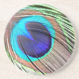 Peacock Feather Product Beverage Coaster