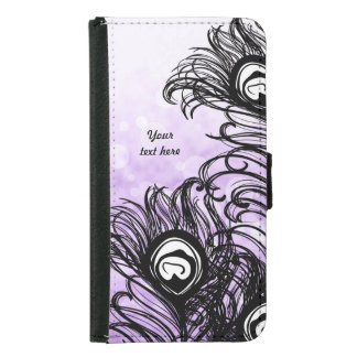 Peacock Feather Purple Bokeh - Galaxy S5 Wallet Phone Case For Samsung Galaxy S5
