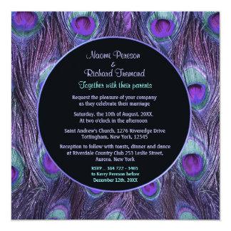 Peacock Feather Purple Drama Wedding Invitation Custom Invitations