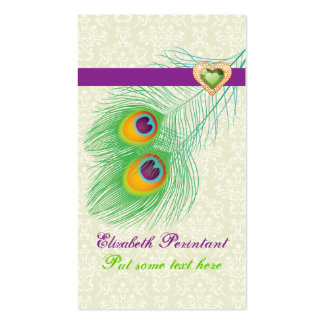 Peacock feather purple green eye catching business cards