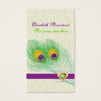 Peacock feather purple green eye catching business card