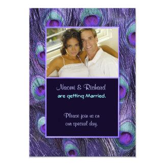 "Peacock Feather Purple - Photo Wedding Invitation 5"" X 7"" Invitation Card"