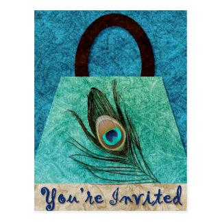 Peacock Feather Purse Postcard Invitation