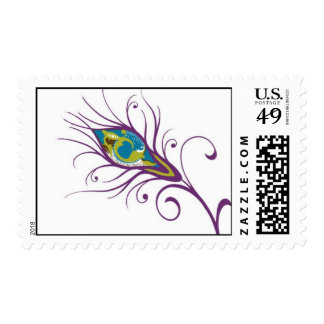 Peacock Feather Quill Postage Stamp